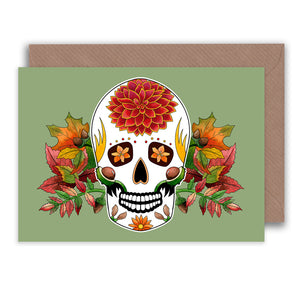 autumn birthday sugar skull greeting card for fall
