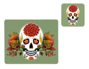 sage green skull placemat and matching coaster