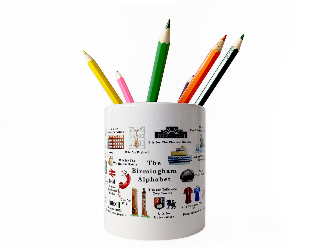 the birmingham alphabet pencil pot office gift idea
