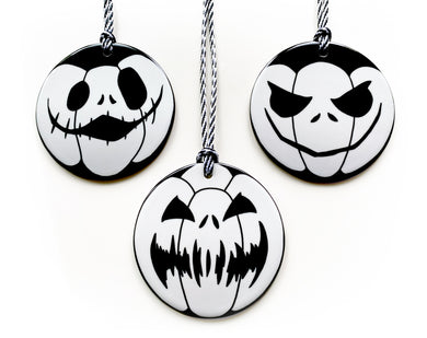 ceramic polar pumpkin tree ornaments, black and white halloween decorations
