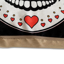 Load image into Gallery viewer, Love Heart Sugar Skull Faux Suede Cushion