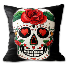 Load image into Gallery viewer, black sugar skull cushion gothic home decor