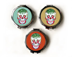 day of the dead sugar skull compact mirror gift idea for her