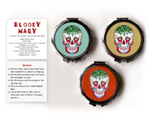 Load image into Gallery viewer, bloody mary cocktail inspired sugar skull compact mirror