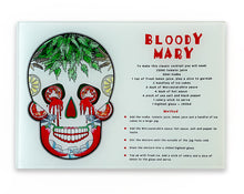 Load image into Gallery viewer, bloody mary recipe cutting board. Day of the dead mexican skull kitchen decor
