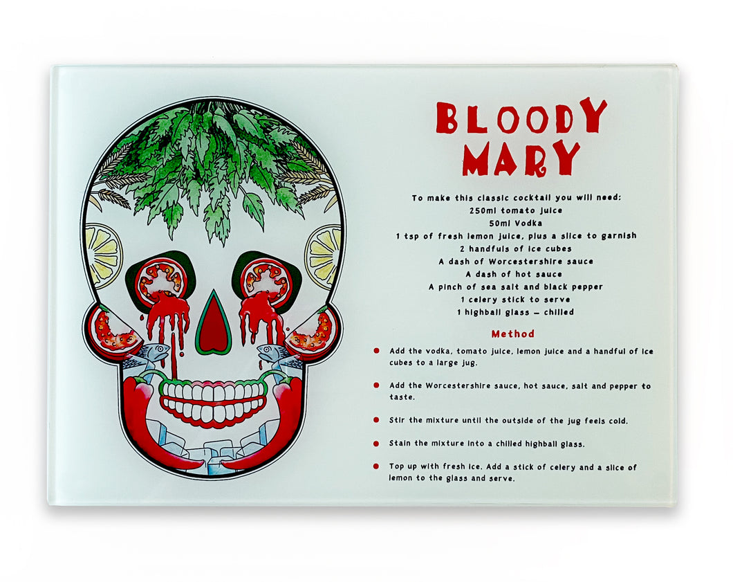 bloody mary recipe cutting board. Day of the dead mexican skull kitchen decor
