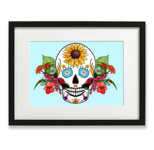 Load image into Gallery viewer, light blue gothic home decor skull print