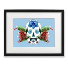 Load image into Gallery viewer, blue gothic home decor skull print