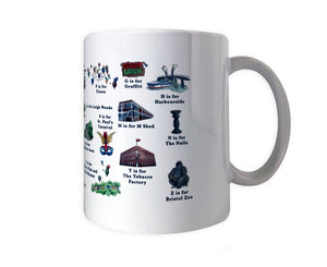 the bristol alphabet mug featuring m shed and the tobacco factory