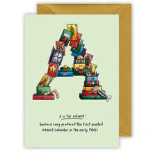 Load image into Gallery viewer, a is for advent personalised alphabet letter a christmas card