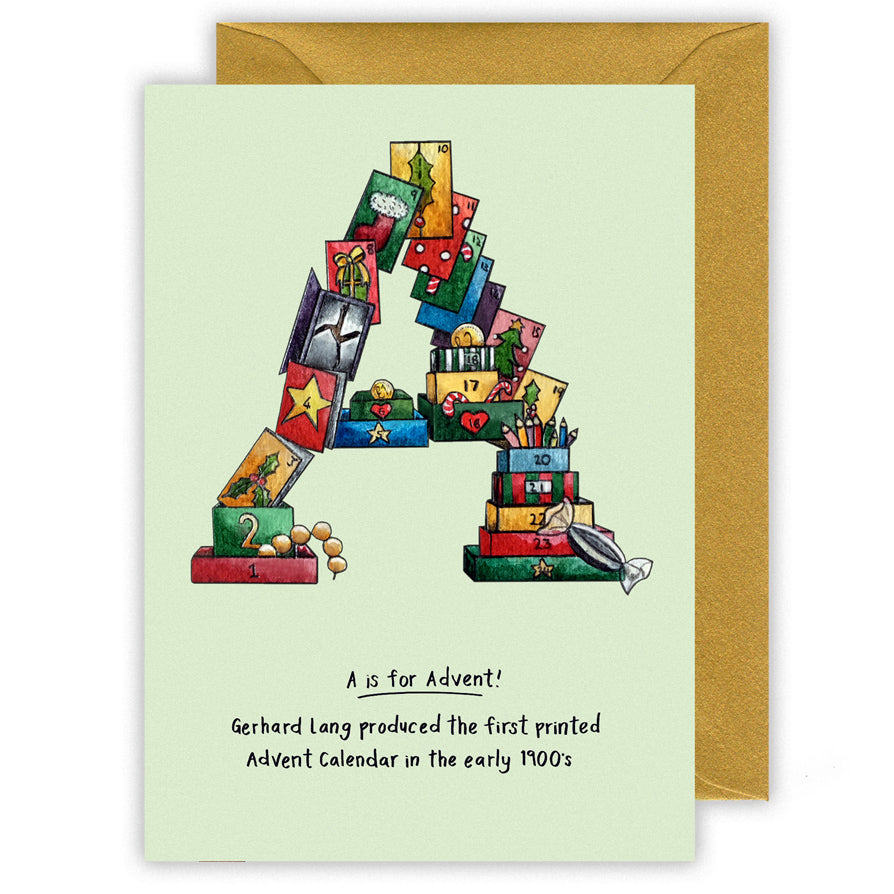 a is for advent personalised alphabet letter a christmas card