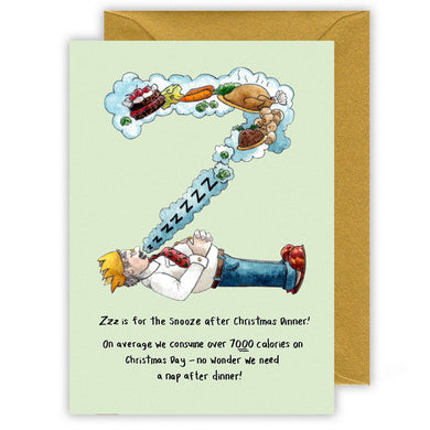 letter z personalised alphabet christmas card