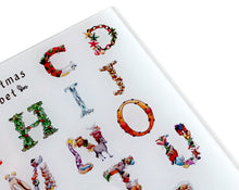 Load image into Gallery viewer, The Christmas Alphabet Glass Cutting Board