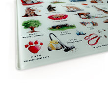 Load image into Gallery viewer, The Dog's Alphabet Glass Cutting Board