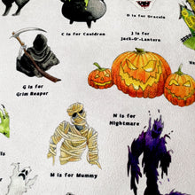 Load image into Gallery viewer, The Halloween Alphabet Faux Suede Cushion
