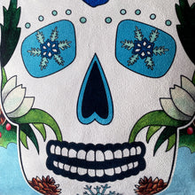 Load image into Gallery viewer, Blue Sugar Skull Faux Suede Cushion