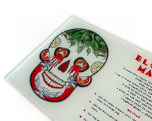 Load image into Gallery viewer, day of the dead sugar skull. Mexican skull glass chopping board