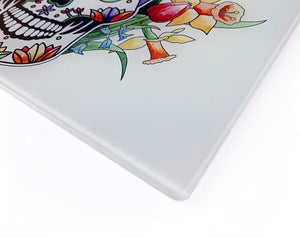 'Spring' Sugar Skull Glass Cutting Board