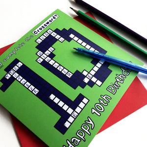 10th birthday card crossword