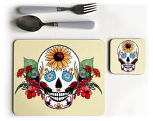 Load image into Gallery viewer, yellow summer sugar skull placemat and coaster
