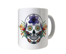 Load image into Gallery viewer, day of the dead sugar skull mug gift idea for her