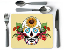 Load image into Gallery viewer, day of the dead sugar skull placemat
