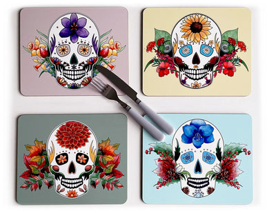 set of 4 day of the dead placemats