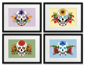 day of the dead wall art set of 4 prints