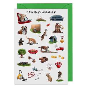 the dogs alphabet greeting card, birthday card for dog lovers