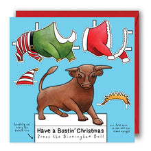 Load image into Gallery viewer, dress the birmingham bull christmas card