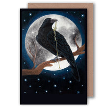 Load image into Gallery viewer, the raven gothic greeting art for halloween