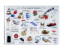 Load image into Gallery viewer, very english alphabet tempered glass cutting board gift idea for foodie