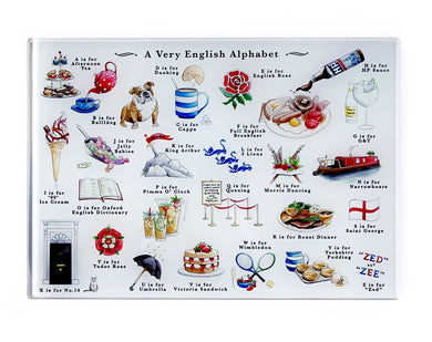 very english alphabet tempered glass cutting board gift idea for foodie