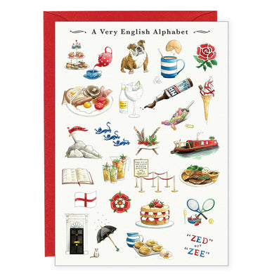 a very english alphabet greeting card