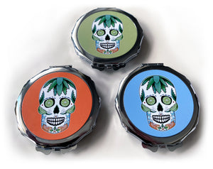skull compact mirror great gothic gift idea for her