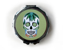 Load image into Gallery viewer, retro skull compact mirror in line green
