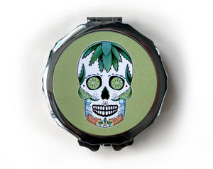 retro skull compact mirror in line green