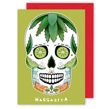 Load image into Gallery viewer, margarita sugar skull cocktail recipe greeting card
