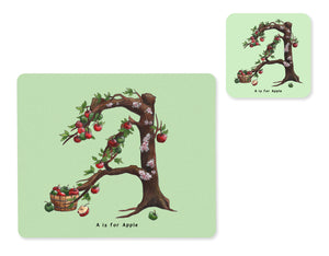 fruit and vegetable alphabet placemat and matching coaster letter a