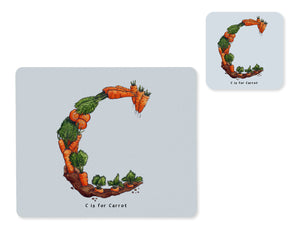 fruit and vegetable alphabet placemat and matching coaster letter c