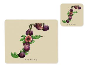 fruit and vegetable alphabet placemat and matching coaster letter f