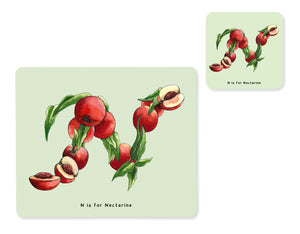 fruit and vegetable alphabet placemat and matching coaster letter n
