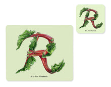 Load image into Gallery viewer, fruit and vegetable alphabet placemat and matching coaster letter r