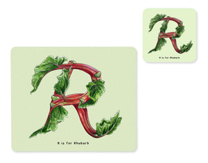 fruit and vegetable alphabet placemat and matching coaster letter r