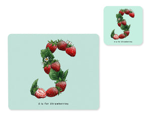 fruit and vegetable alphabet placemat and matching coaster letter s