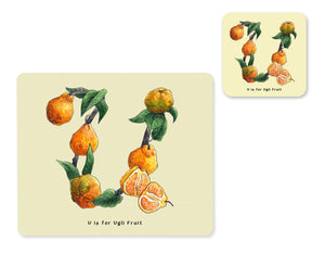 fruit and vegetable alphabet placemat and matching coaster letter u