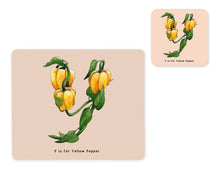 Load image into Gallery viewer, fruit and vegetable alphabet placemat and matching coaster letter y