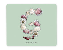 Load image into Gallery viewer, letter g alphabet placemat gift idea for garlic lover