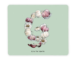 letter g alphabet placemat gift idea for garlic lover