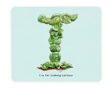 Load image into Gallery viewer, letter i alphabet placemat personalised gift idea for vegans